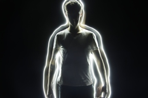Light painting around the body.